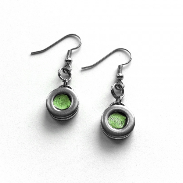 Green and Silver Industrial Handmade Earrings