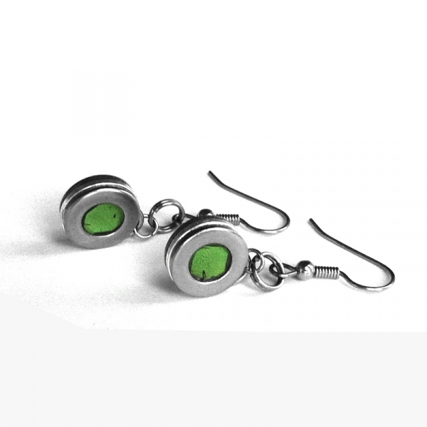 Silver and Green Earrings by Loralyn Designs