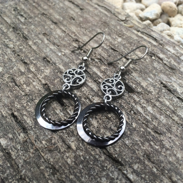 Day to Night Earrings Steel and Black