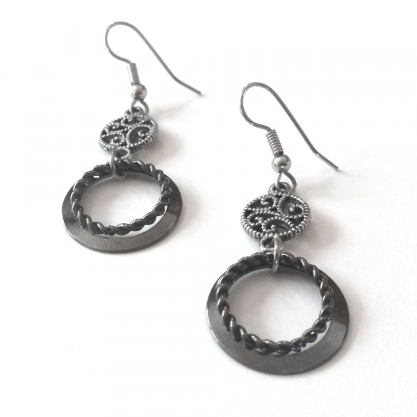 beautiful steel metal hook earrings