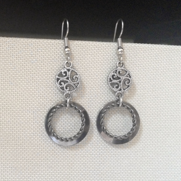 Vintage Style Silver and Black Dangle Earrings