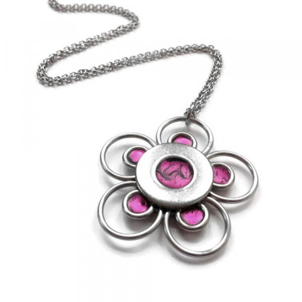 Modern Flower Pendant Necklace Silver Steel with Resin Petals