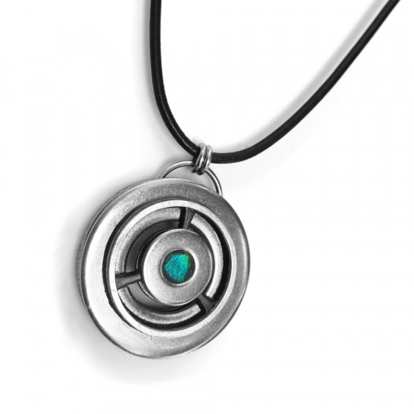 Customizable Silver Steel and Aqua Industrial Pendant Necklace