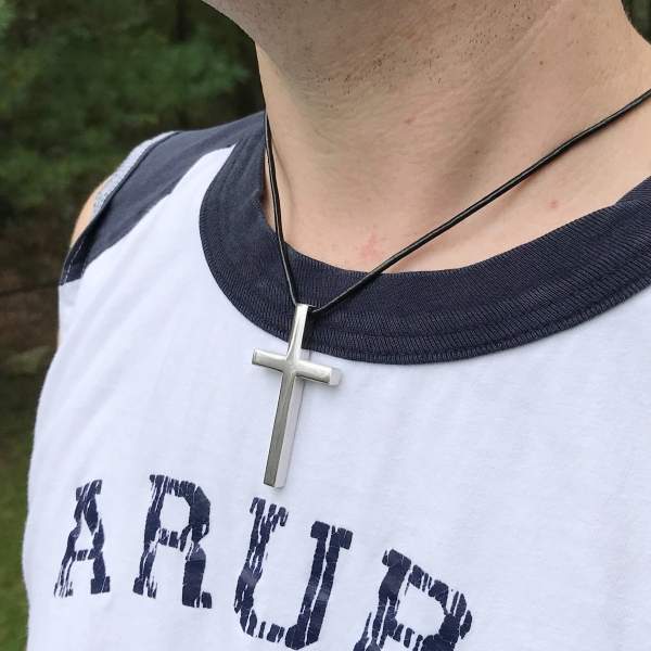 Thin Dark Leather Necklace Chain Shown with Large Cross Pendant