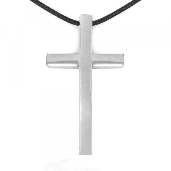 Large Silver 316L Hypoallergenic Religious Cross Necklace