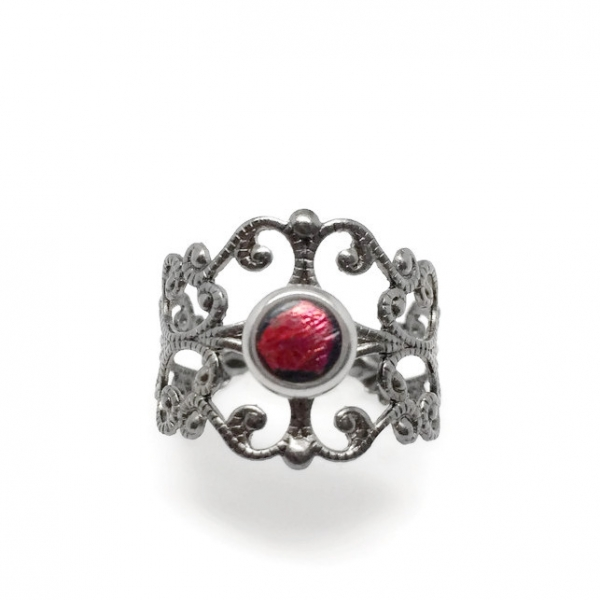 Unique Gothic Ring Gray and Dark Red