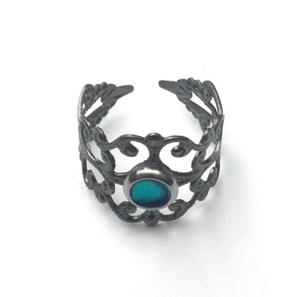 Affordable Silver Cutout Ring Grey Gray Rocker Chic Style