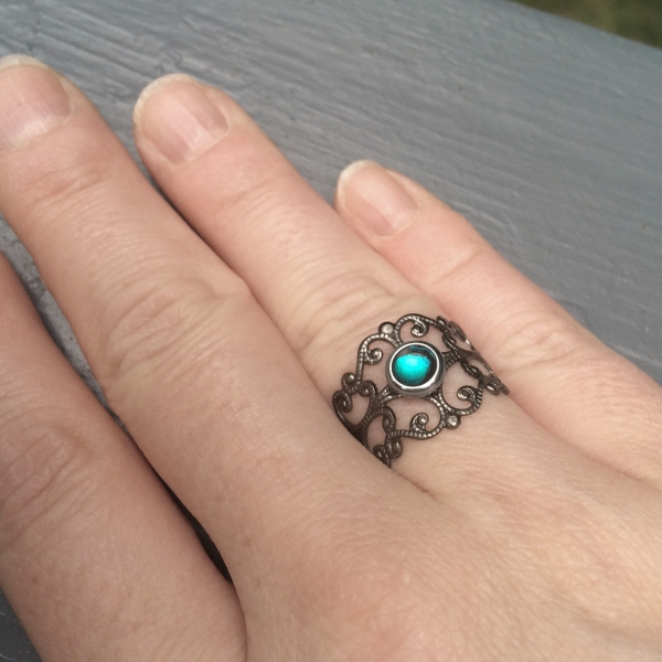 Resin Jewelry Teal Blue Color No Stone Thumb Ring Her