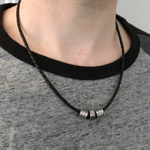 Mens Classy Tribal Black Leather Silver Bead Necklace Stylish