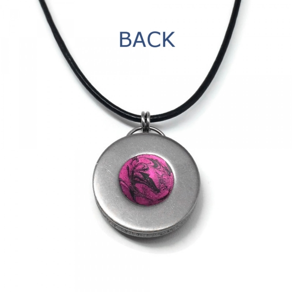 Simple Hot Pink and Black Jewelry Round Leather