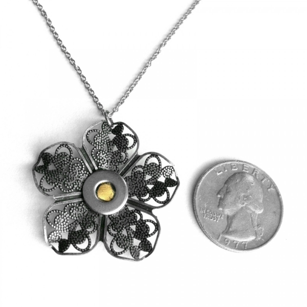 Yellow Jewelry Silver Filigree Flower Necklace