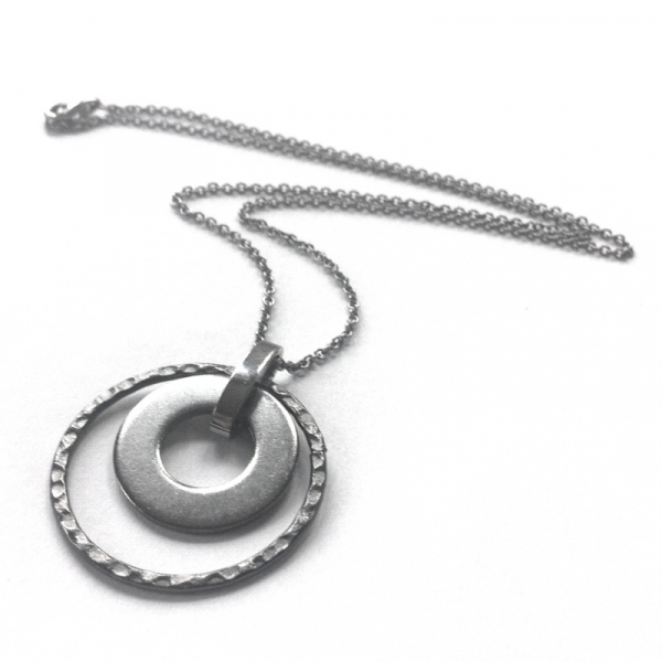 Dark Gray and Silver Circle Necklace