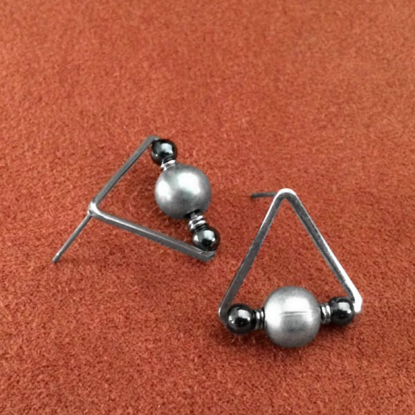 Small Silver Metal Drop Post Earings for Her