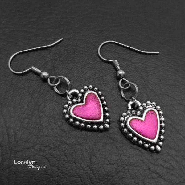 Beautiful Hypoallergenic Colorful Heart Earrings Rocker Chis Style