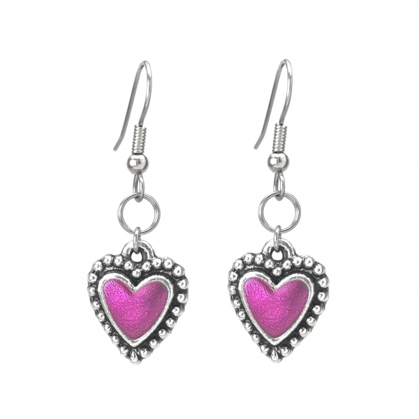 Cute Unique Silver Heart Earring Valentines Gift Idea for Daughter or Girlfriend