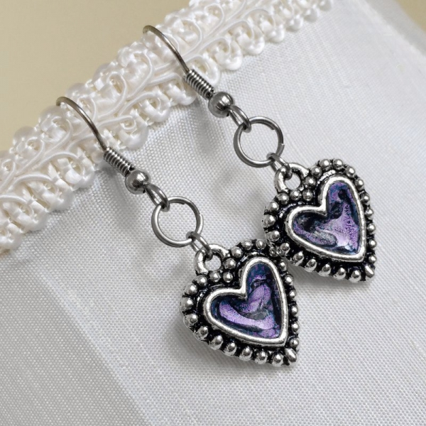 Lavender Resin Heart Jewelry Edgy