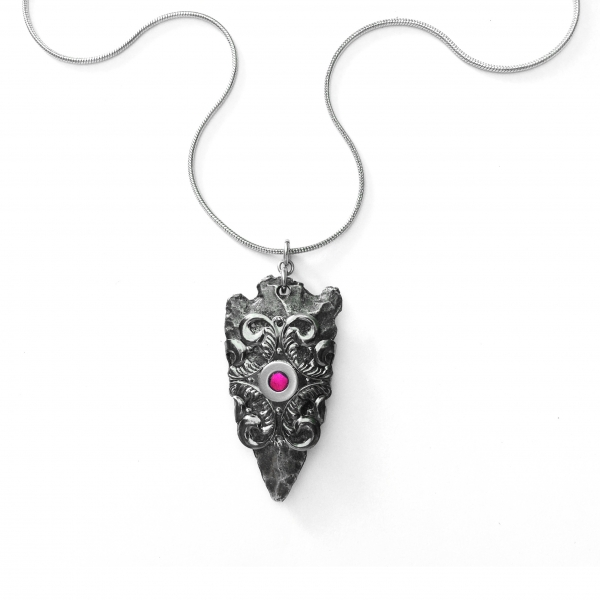 Handmade Edgy Gothic Necklace Wiccan Style Pendant Bright Pink