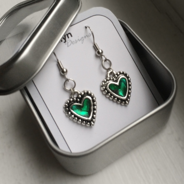 Custom Color Heart Earrings Punk Fashion Cute!
