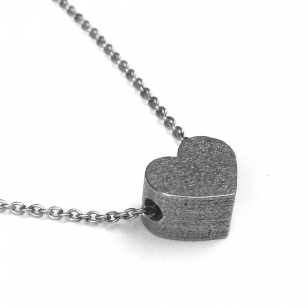 Slide Heart Pendant Necklace , Side Hole View