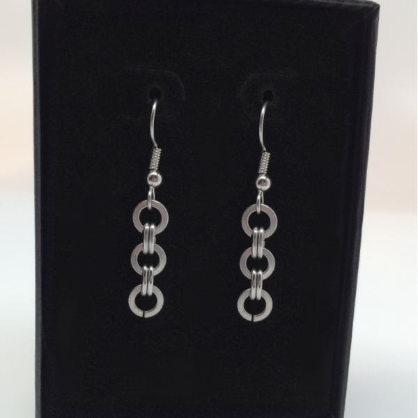 Triple Silver Circle Earrings for Her French Hook Hypoallergenic