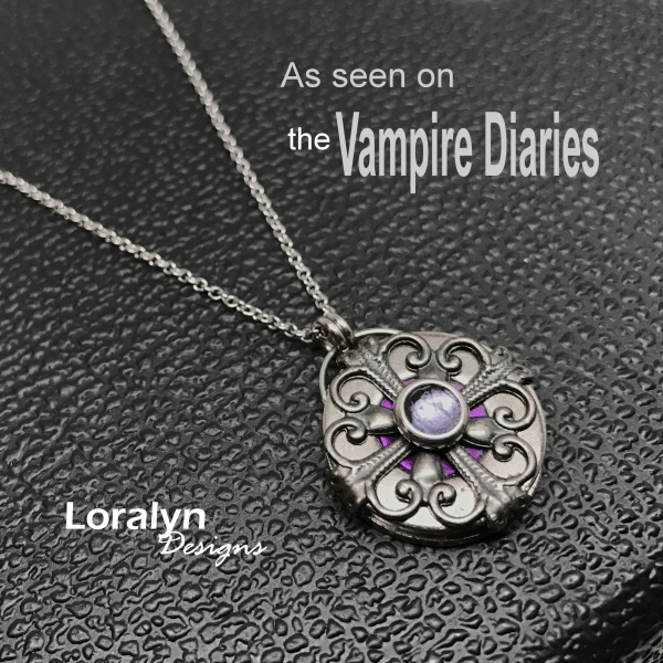 Old World Style Feminine Victorian Edgy Silver Pendant Necklace Middle Ages