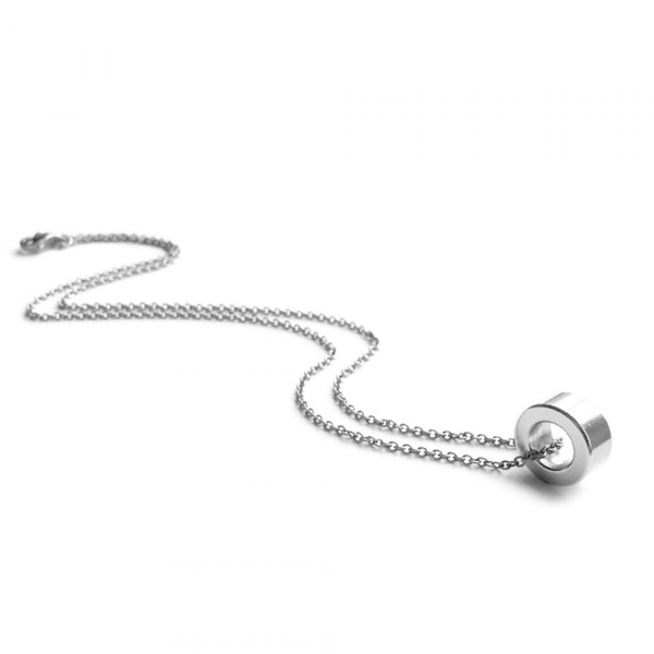Simple Silver Open Circle Necklace for Women