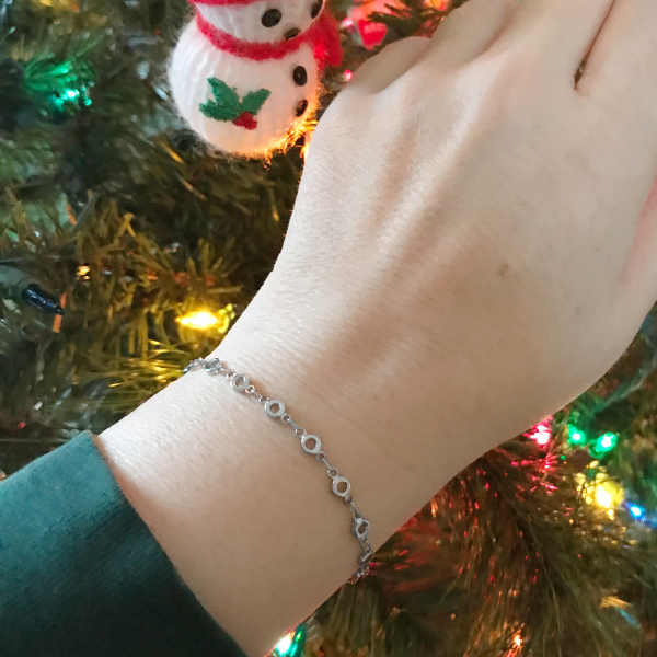 Unique silver layering bracelet under $20 gift for wife christmas