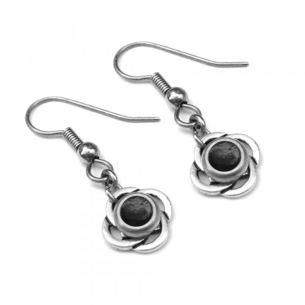 Cool Earrings Black Resin with Silver Celtic Weave Design