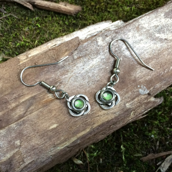 Silver Celtic Knot Dangle Earrings on Steel French Hook Wires