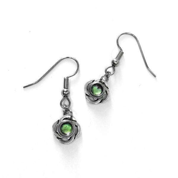 Unique Silver Celtic Design Dangle Earrings Green Center