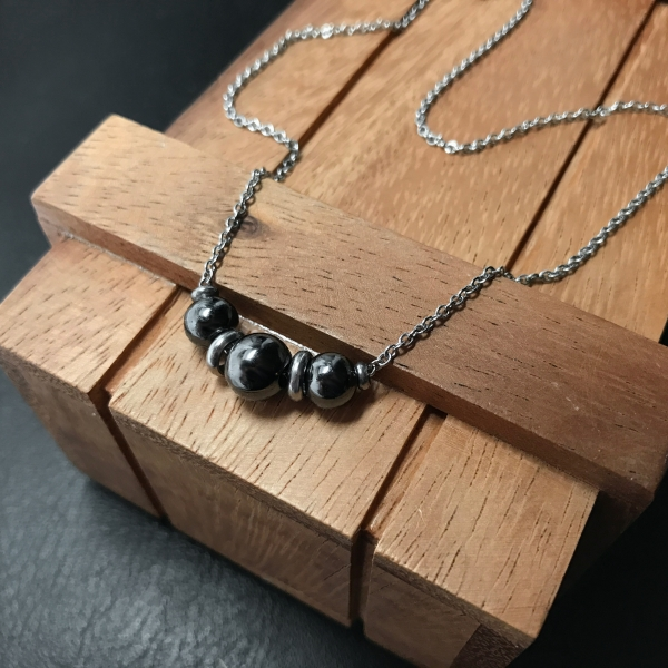 Elegant yet Casual Black Metal Minimalist Necklace Great for Layering!