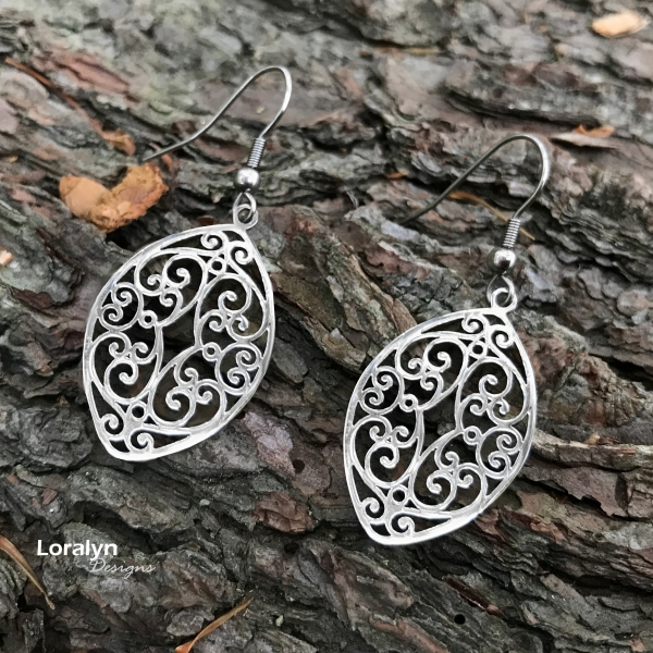 Loralyn Designs Pointed Oval Cut Out Design French Hook Earrings