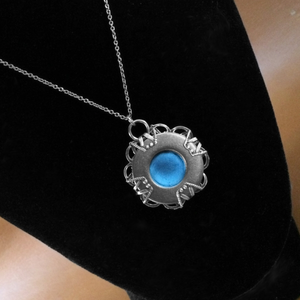 Cool Double Sided Necklace Blue and Silver Urban Chic