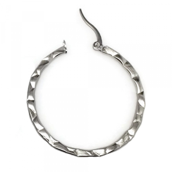 Lever Back Silver Textured Circle Earrings for Women Casual Dressy