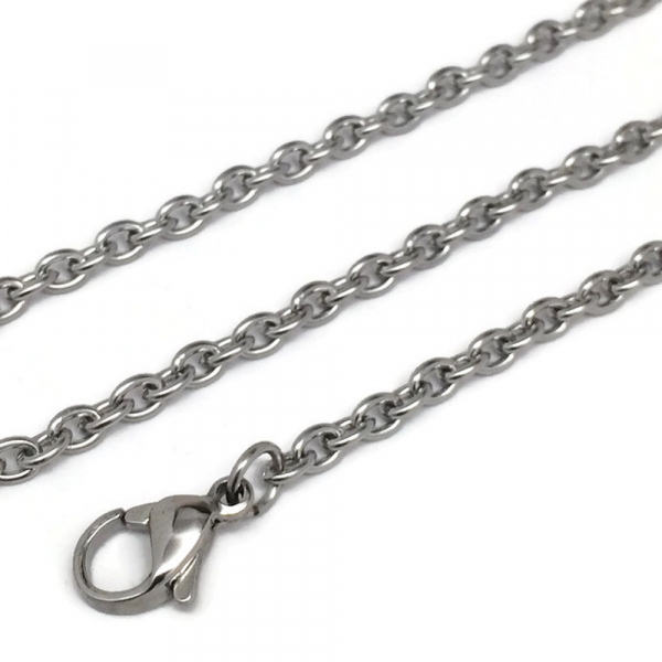 Classic Mens Silver Chain Lobster Claw Clasp Closure