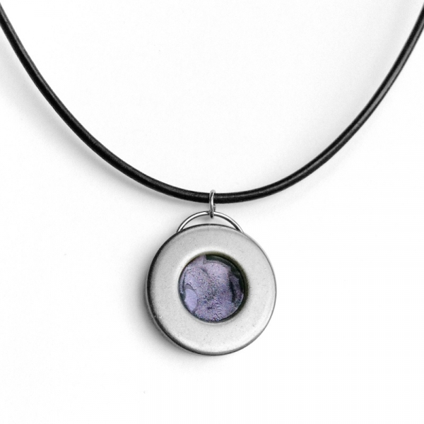 Lavender and Silver Necklace Simple Pendant