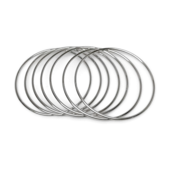 Classic and versatile silver bangle layering bracelet set for women