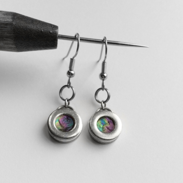 Handmade Simple Silver Earrings Colorful Center