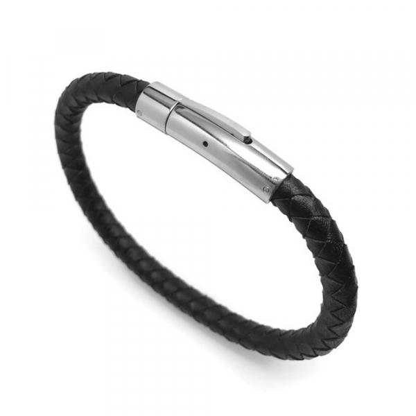 Quality wristband woven leather and metal womens unisex