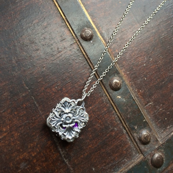 Silver Filigree Square Pendant Necklace Back View
