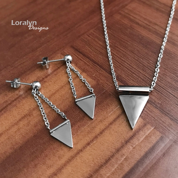 Mirror Finish Polished Silver Steel Triangle Necklace and Earrings Set