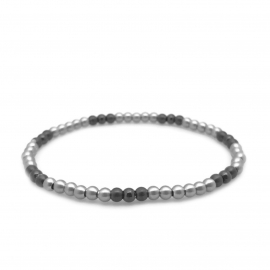 Thin 4mm Silver and Black Metal Bead Layering Bangle Tennis Bracelet for Women