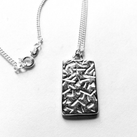 Silver Rectangle Pendant Necklace Back
