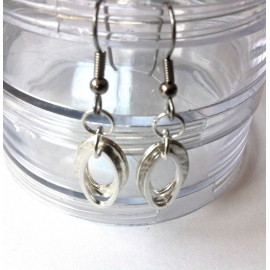 Layered Silver Earrings - Hammered Jewelry