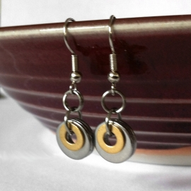 Casual Brass and Stainless Steel Earrings