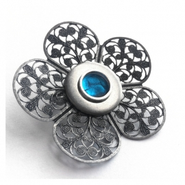 Blue and Silver Flower Lapel Pin