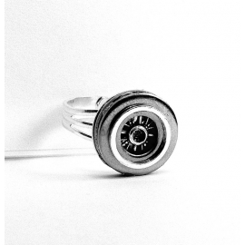 Silver Mens Hubcap Ring Front