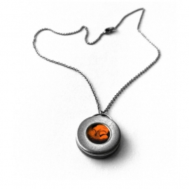 Orange and Steel Washer Necklace