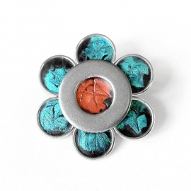 Silver Lapel Pin Teal and Orange Flower