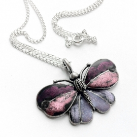 Silver and Purple Butterfly Necklace
